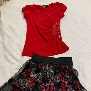Youth dressy shirt with two skirts